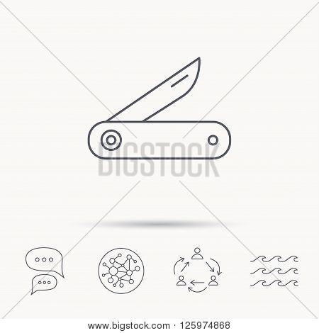 Multitool knife icon. Multifunction tool sign. Hiking equipment symbol. Global connect network, ocean wave and chat dialog icons. Teamwork symbol.