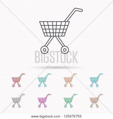 Shopping cart icon. Market buying sign. Linear icons on white background.