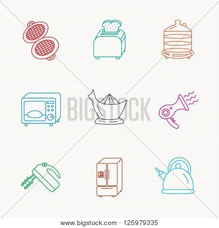 Microwave oven, teapot and blender icons. Refrigerator fridge, juicer and toaster linear signs. Hair dryer, steamer and waffle-iron icons. Linear colored icons.