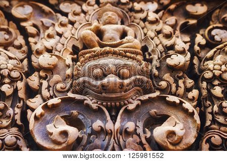 Bas relief carvings at Banteay Srei temple, Angkor, Siem Reap, Cambodia.