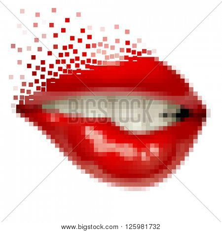 Pixel art female sexy gloss red lips. Opened sensual mouth of woman with teeth biting her lips. Vector illustration