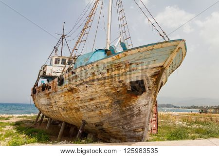 Old Derelict Wooden Fishing Boat Wreck