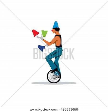Circus acrobat and juggler on a white background