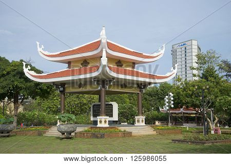 VUNG TAU, VIETNAM - DECEMBER 21, 2015: The gazebo in the memorial complex of the Pantheon of Ho Chi Minh. The landmark of Vung Tau, Vietnam