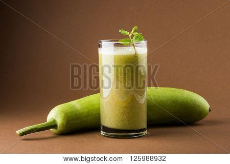 Juice of bottle gourd or lauki juice in india or Lagenaria siceraria juice, bottle gourd juice, powerful health juice popular in India
