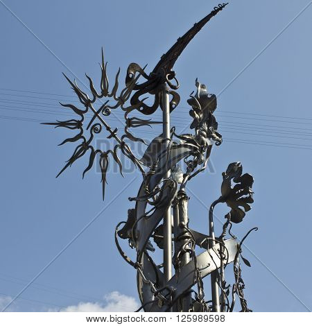 This work of blacksmith's art is at the center of one of the cities of Ukraine.