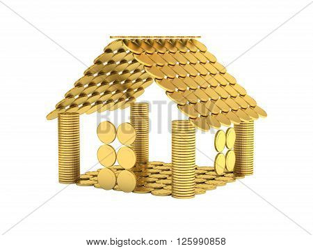 House from coins isolated on wite 3d illustration