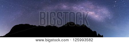 Milky way panorama landscape on mountain, astrophotography and nightscape photography in thailand ** Note: Visible grain at 100%, best at smaller sizes