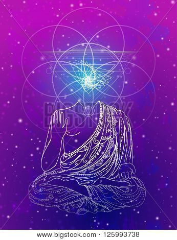 Statue of Buddha in the lotus position, meditation. Geometric element hand drawn. Psychedelic Poster in the style of 60's, 70's. Sacred Geometry. Promoted peace and love.