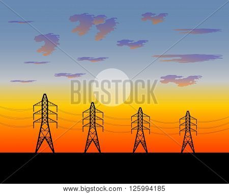 illustration electric iron poles strained with wires