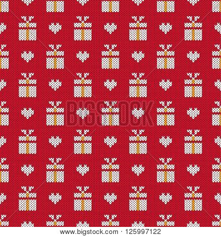 Knitted pattern gifts and heart on a red background. Concept of celebrations holidays actions. Handwork ornament. Seamless pattern. Vector illustration.