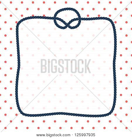 Navy blue rope square frame with a knot on dotted white background, vector template