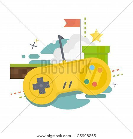 Gaming concept. Video game console,gamepad with elements of the games. Vector illustration of flat design