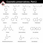Molecular structures of main cosmetic preservatives second set 2d vector on white background eps 8 poster