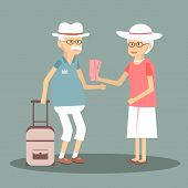 An elderly couple travels. Illustration of a happy traveling pensioners. Characters in the old man and woman on the tour. Happy senior couple traveling around Europe. Vector flat design poster