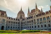 Hungarian Parliament in Budapest. Neogothic building, architectural details. poster