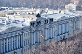 Building of Russian Constitutional Court and President library - former buildings of Senate and Synod in St. Petersburg - birds eye view poster