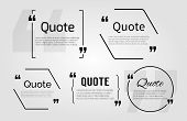 Quote blanks templates with text bubble with Commas. Vector Empty template for notemessage comment. Dialog box. Quote bubble Quote design quoting box. Quote form. White quote blank icon isolated poster