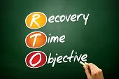 Recovery Time Objective (RTO) business concept acronym on blackboard poster