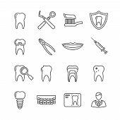 Teeth, dentistry medical line icons. Instrument dentistry medical, dentistry medical stomatology, equipment dentistry medical, dental protection. Vector illustration poster