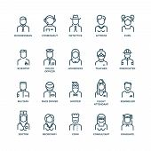 People avatars, characters staff, professions. Career people, manager profession, people profession, icon character professions. Vector illustration linear icons poster