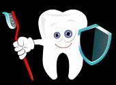 Dental protection conceptual vector illustration. Cartoonish tooth standing with a toothbrush and a shield. Dental care symbol poster