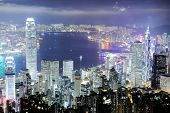 Hong Kong central district skyline and Victoria Harbour view at night. poster