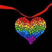 Mosaic rainbow heart on black background. Rainbow heart vector icon. Rainbow heart  LGBT logo. LGBT symbol. Gay culture sign. Gay pride design element. Mosaic rainbow heart with ribbon poster