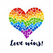 Mosaic rainbow heart on white background. Rainbow heart vector icon. Isolated rainbow heart. Rainbow heart  LGBT logo. LGBT symbol. Gay culture sign. Gay pride design element. Isolated mosaic rainbow heart. poster