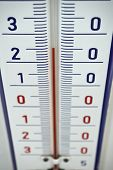 Aged outdoor thermometer in the retro design measuring mild temperature of twenty degrees of Celsius poster