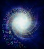 Numerology Energy Vortex - random transparent spiraling numbers swirling outwards from the center of a white star burst on a dark blue and black background  with plenty of copy space poster