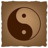 Ying yang symbol of harmony and balance. Coffee style on old paper. poster
