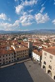 Cathedral square (Piazza Duomo) with the town hall. View from the cathedral bell tower. Pistoia Tuscany Italy poster