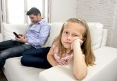 young internet addict father using mobile phone ignoring his little sad daughter looking bored lonely and depressed feeling abandoned and disappointed with her dad in parent bad selfish behaviour poster