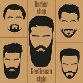 Set men's hair with a beard. Barber shop poster