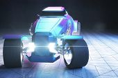 Frontview of blue and violet Hot Rod car. 3D Rendering poster