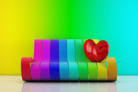 In Love Hearts Standing On A Rainbow Couch - 3D Render