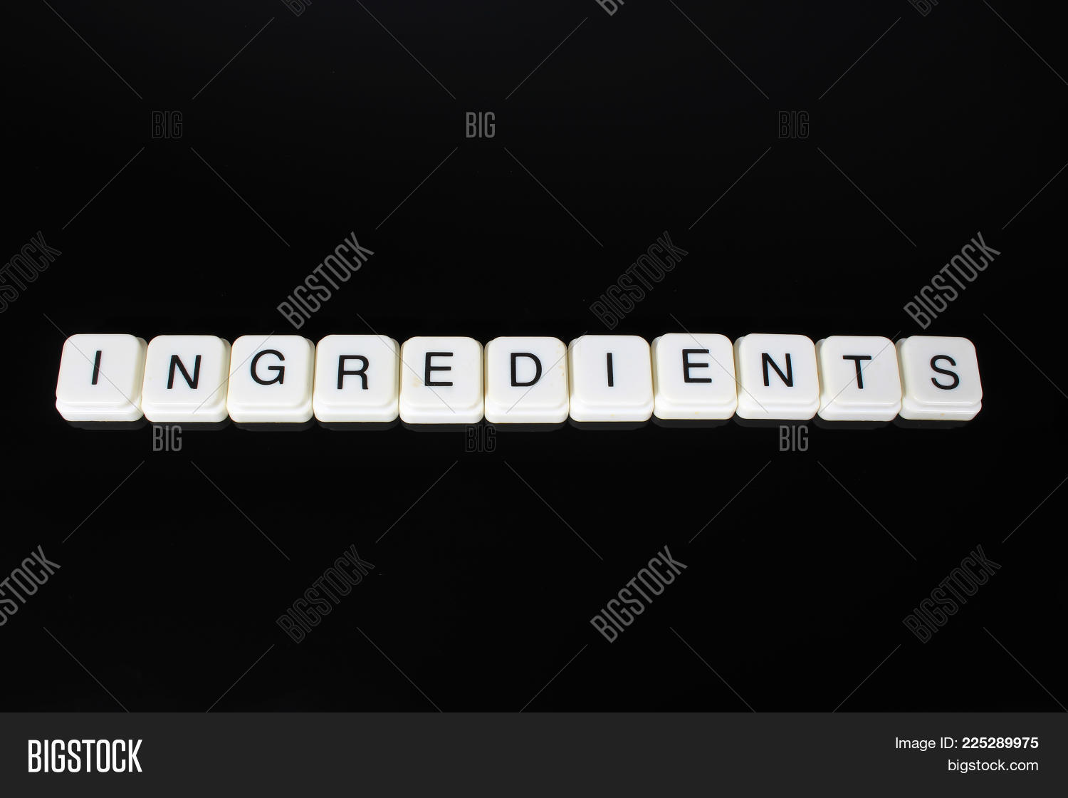 Ingredients text word title caption label cover backdrop background alphabet letter toy blocks on black