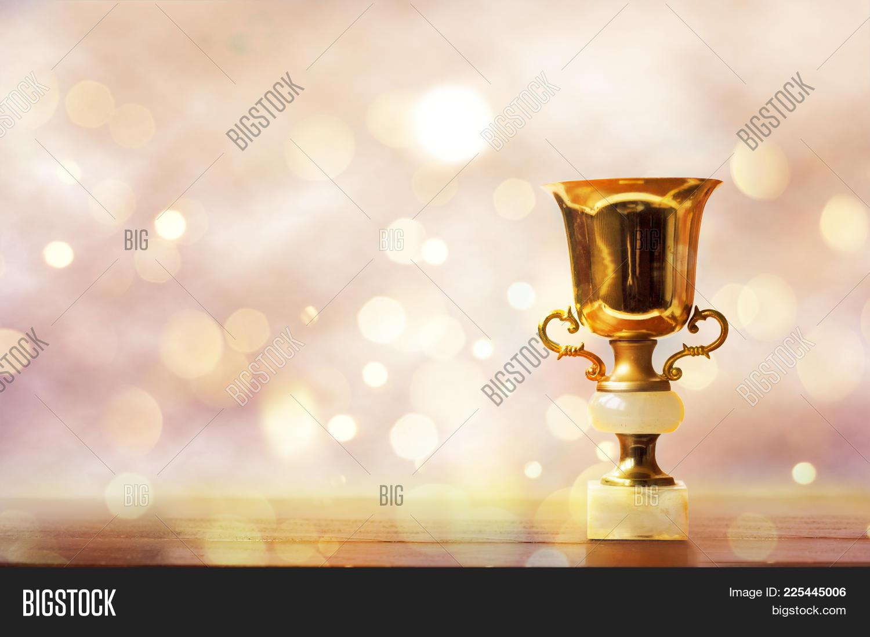 Wooden Golden Trophy PowerPoint Template