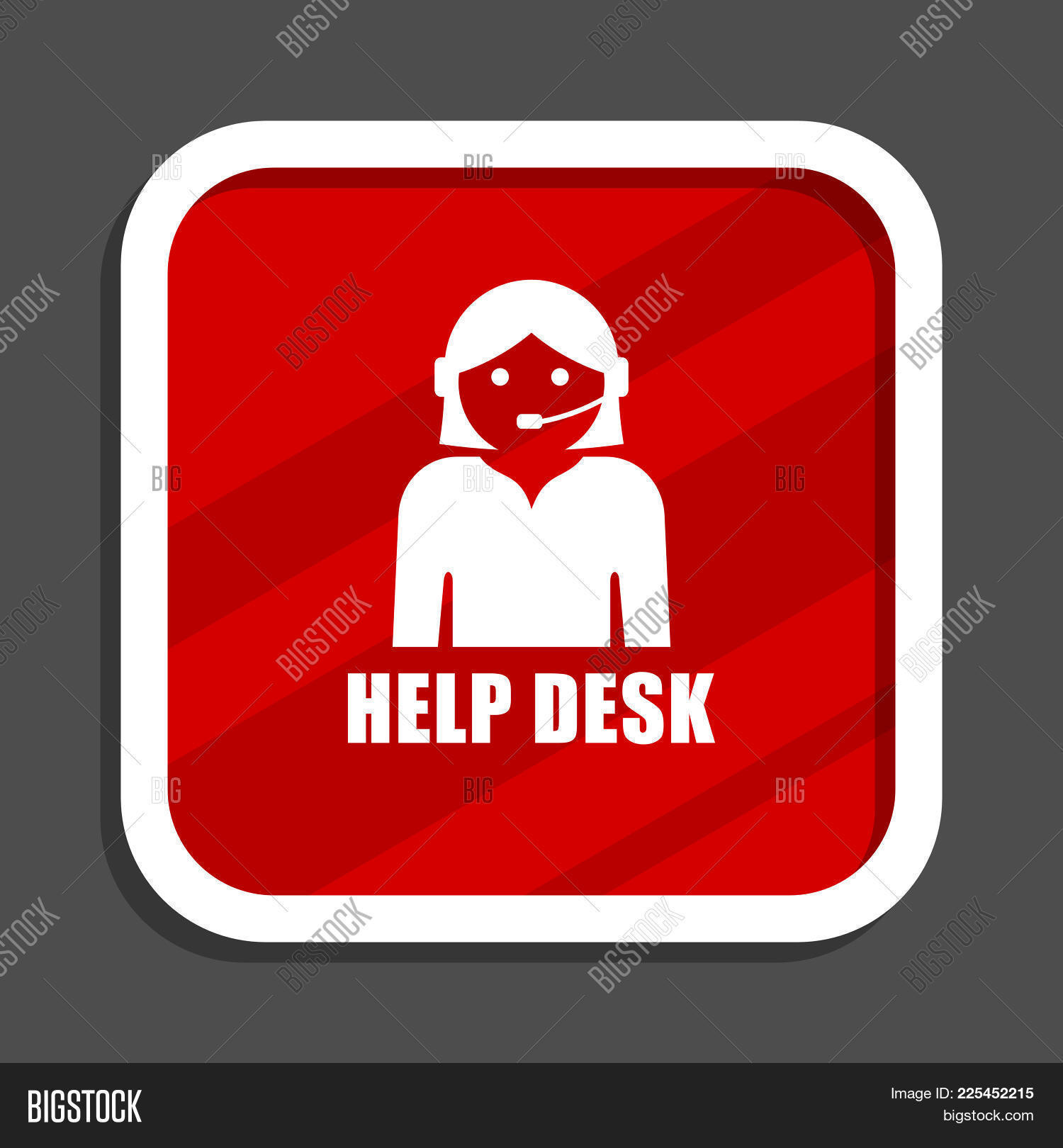 Help Desk Icon. Flat Design Square Internet Banner.