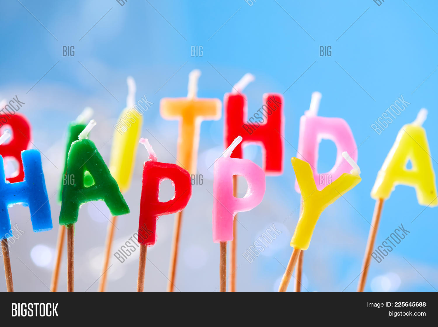 birthday party birthday candles on blue powerpoint template
