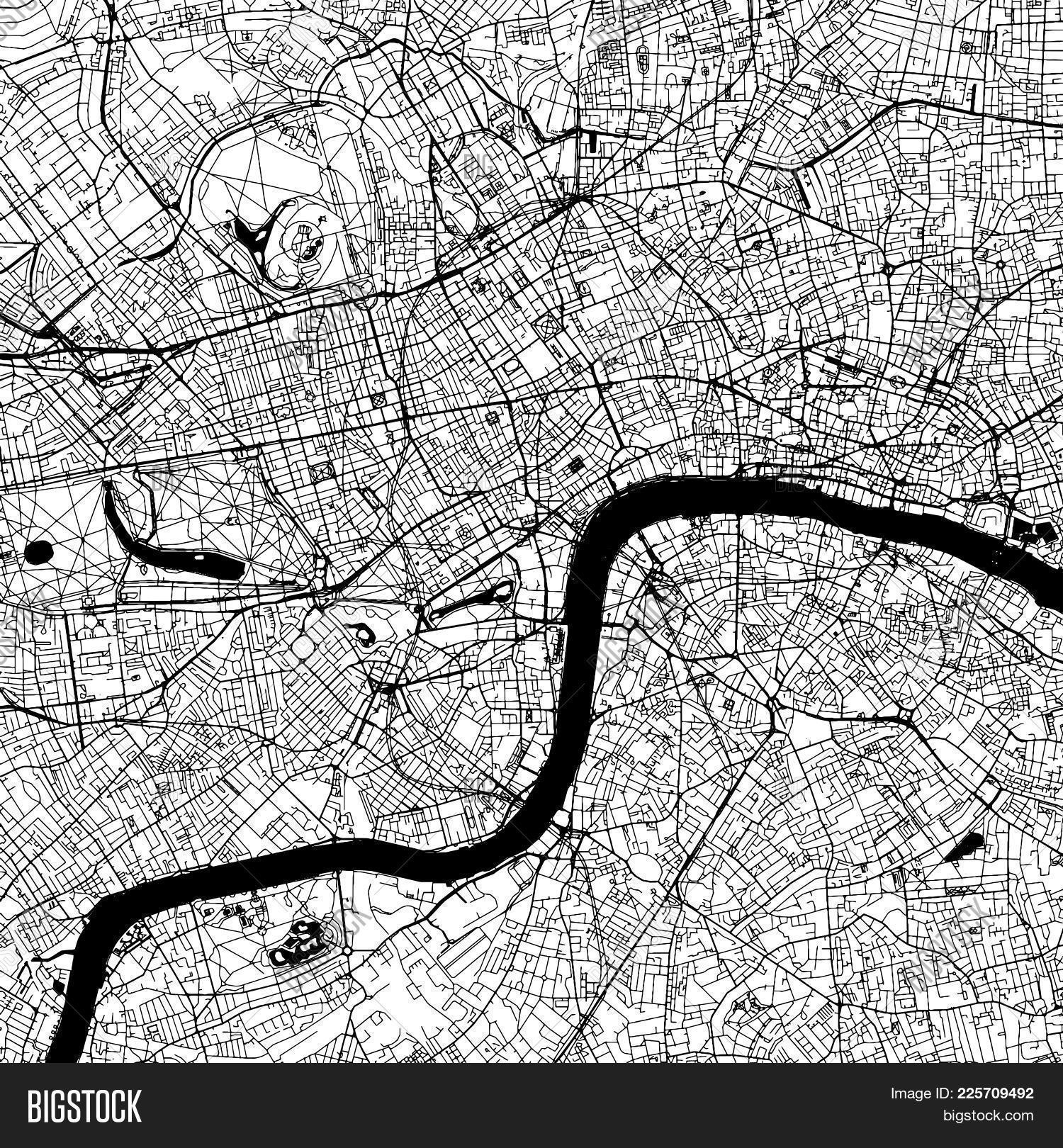 london downtown vector map monochrome artprint outline version for infographic background black st