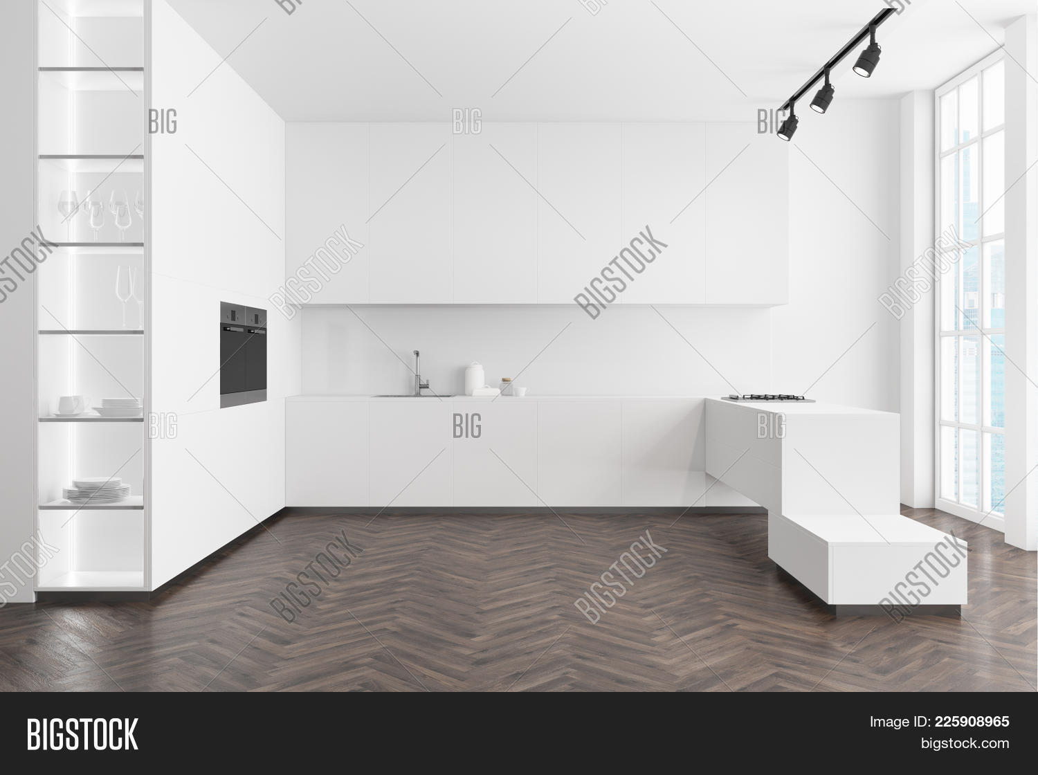 Counter interior white kitchen powerpoint template counter architecture powerpoint template 60 slides toneelgroepblik Choice Image