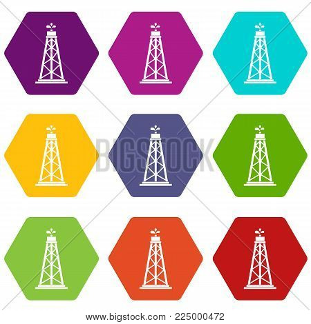 Oil rig icon set many color hexahedron isolated on white vector illustration