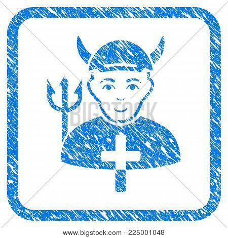 Satan Priest rubber seal imitation. Icon vector symbol with grungy design and unclean texture inside rounded frame. Scratched blue stamp imitation. Boy face has enjoy feeling.