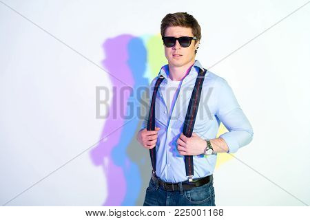 Portrait of cheerful man looking at camera. Style concept. Copy space