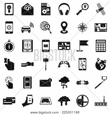 Mobile widget icons set. Simple set of 36 mobile widget vector icons for web isolated on white background