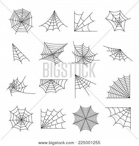 Web spider cobweb icons set. Outline illustration of 16 web spider cobweb vector icons for web