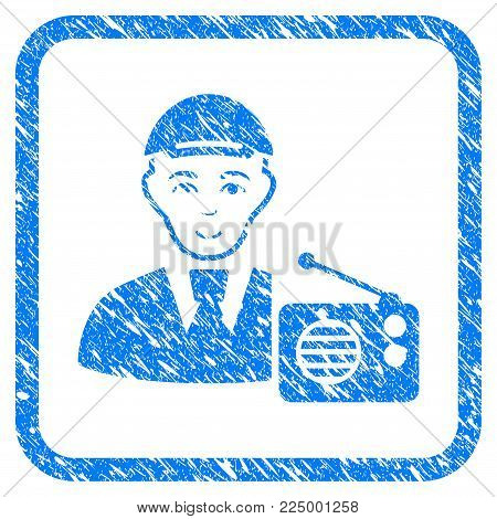 Radio Listener rubber seal stamp imitation. Icon vector symbol with grunge design and corrosion texture in rounded frame. Scratched blue emblem. Person face has joyful mood.