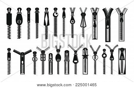 Zipper puller lock icons set. Simple illustration of 32 zipper puller button lock vector icons for web